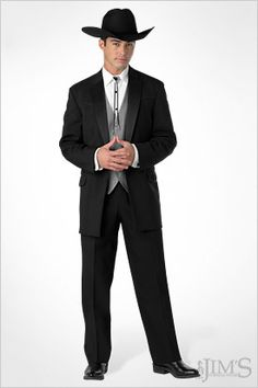 d01da894fc4 Formal tux paired with cowboy hat - perfect Western wedding. This is ...