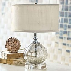Pierce Bedside lamp: brass with antique-silver finish. Hand ...