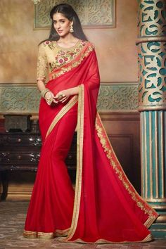 Add richer looks to the persona in this red self chiffon partywear saree. You can see some fascinating patterns completed with embroidered and lace border work. Comes with matching blouse. Red Chiffon, Chiffon Saree, Georgette Sarees, Lehenga Choli, Party Wear Sarees Online, Online Shopping Sarees, Indian Designer Sarees, Latest Designer Sarees, Indian Sarees