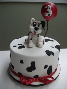 Birthday Dalmatian dog - Chocolate cake with chocolate ganache, covered with fondant and topped of with fondant dog and balloon
