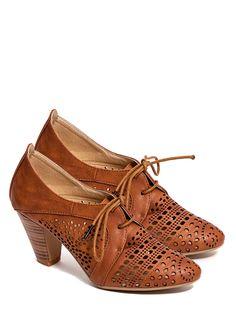 Cognac oxford heels