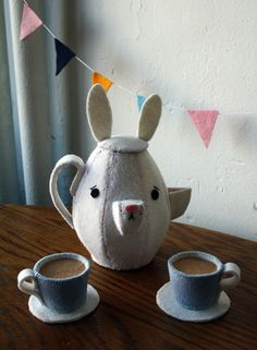 Fantasy Felt Tea Set - Etsy  Bunny Tea or Coffee pot, tea cups and saucers sets