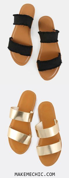 Frayed Canvas Duo Strap Sandals BLACK. The Frayed Canvas Duo Strap Sandals are all about ease and comfort. Features an open toe, frayed canvas upper, and a duo strap design. Finished with a flat heel. Complete the look with a no-brainer t-shirt dress for the ultimate stress free casual look.