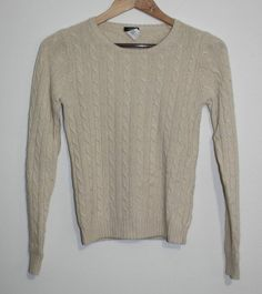 $19.99 Women's J. Crew Cashmere Blend Oatmeal Crew Neck Cable Knit Sweater Size: XS #JCrew #Crewneck
