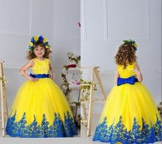 2015 Yellow and Royal Blue Lace Little Flower Girls' Dresses Bridal Party Cinderella Princess Style Ball Gowns For Weddings Kids Sale Cheap