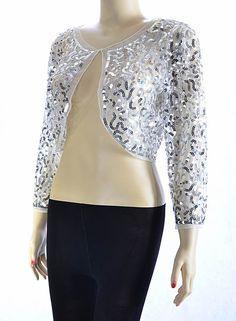 New Ladies Beaded Long Sleeve Shrugs Sequin Bolero Crop Cardigan ...