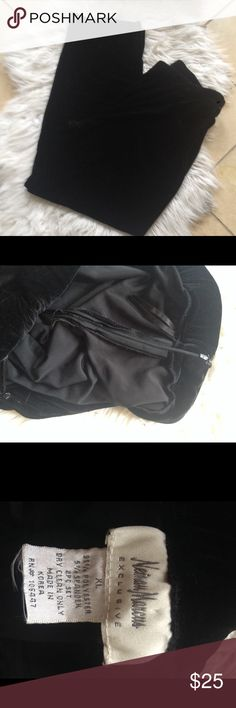 Neimann Marcus velour pants Neimann Marcus Black Velour pants with side zipper and clasp great condition Neiman Marcus Pants