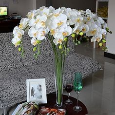 Calcifer® 31'Artificial Silk Phalaenopsis Orchid Stem Bouquets Artificial Flowers for Wedding Party Home Garden Decor (1, Yellow Heart White) -- Want to know more, click on the image.