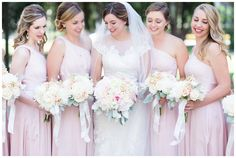 bride with her bridesmaids in blush dresses