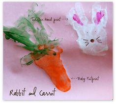 Handprint Spring Craft: Rabbit and Carrot