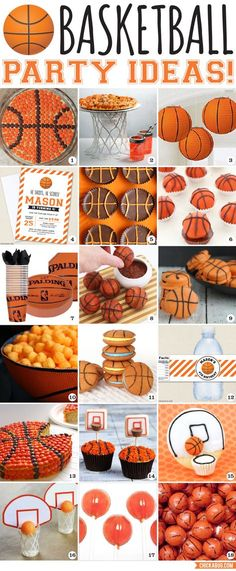 You'll make a slam dunk with these awesome basketball party ideas! Here are lots of cute food and decor ideas for a basketball birthday party! Basketball Birthday Parties, Sports Birthday, Sports Party, Boy Birthday Parties, Birthday Ideas, Cake Birthday, 10th Birthday, Soccer Party, Birthday Games