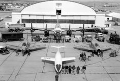This 1954 NACA photo shows the teams that supported the D-558-2 Skyrocket (front) test flights, including two Sabre chase planes and the P2B-1S launch aircraft, along with the personnel from the air and ground teams