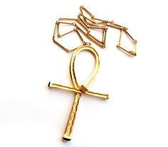 Vintage Ankh Necklace Oversize Pendant Gold Tone by LaVieHippie