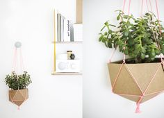 A planter can be crafted out of cardboard and colorful string!