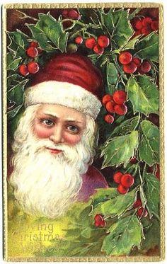 Beautiful 1907 Full-Bearded German Gel SANTA Embossed Postcard 'Loving from baublesbanglesandbeads on Ruby Lane