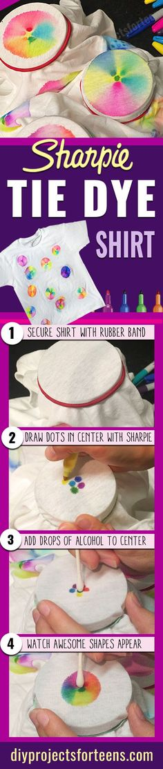 Fun DIY Crafts for Teens and Kids- Tutorial and Step by Step Instructions http://diyprojectsforteens.com/crafts-for-teens-sharpie-tie-dye-t-shirt/