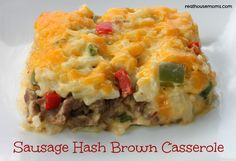 Sausage Hash Brown Casserole •2 12 oz. Reduced Fat pork sausage •2½ cups shredded cheddar cheese, divided •1 10¾ oz can cream of chicken soup •8 oz container light sour cream •8oz container french onion dip •1 cup chopped green onion •¼ cup chopped green pepper •¼ cup chopped red pepper •⅛ tsp pepper •30 oz package frozen shredded hash brown potatoes, thawed