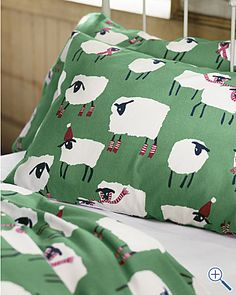 by Garnet Hill: Baa Humbug Flannel Bedding I want these sheets Sheep Art, King Sheets, Sheep And Lamb, Patterned Sheets, Comforter Cover, Textiles, Kid Spaces, Home Decor Furniture, Flannel