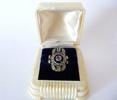 Art Deco Celluloid Ring Box Pearlized Cream by TreasuresOfGrace