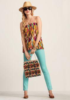 Day to Night - Day 02 - CAbi Spring 2013 Collection Ikat Bella Skirt worn as Top , Thin Mint Jegging @Kim Brasington