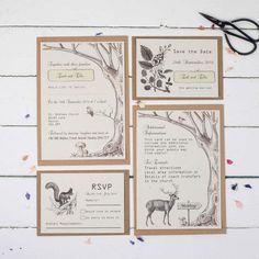 Wedding Invitations Sample Pack, Rustic Woodland Wedding, Handmade Wedding