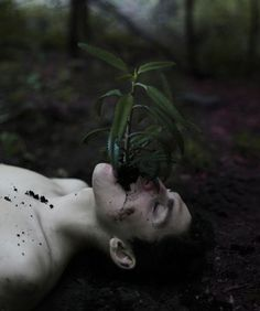 man lying on forest ground, plant growing from mouth, Surreal photography by Ben Zank - REPUBLIC X Surrealism Photography, Dark Photography, Ethereal Photography, Advanced Photography, London Photography, Artistic Photography, Photography Business, Writing Inspiration, Character Inspiration
