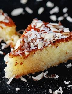 Authentic Basbousa - an easy Middle Eastern semolina cake drenched in cinnamon syrup and t..., ,