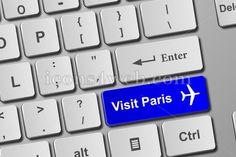 Visit Paris blue keyboard button. Buy online tickets concept to visit Paris – Icons for your website