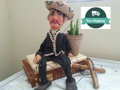 Mariachi Puppet String Vintage Marionette  by YourGreatestStory