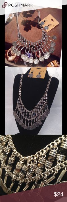 Bohemian Coin Necklace Set This beautiful set features coins on a bib style silver tone burnished chain with matching earrings. Measures 22 inches. Earrings 1.5 inches long. (This closet does not trade or use PayPal) Jewelry Necklaces
