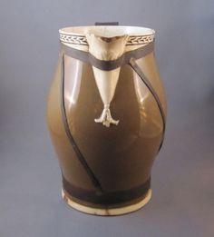 Strap-mended English diptware jug, c.1800