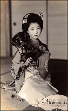 Famous geisha Momotaro. Japan. 1910.