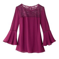 Lace-Trim Bell-Sleeve Blouse | AVON Shop with me: www.youravon.com/kstrebeck
