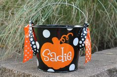 Personalized 5 Quart Halloween Bucket Many by StudioFourDesigns Halloween Buckets, Fall Halloween, Halloween Costumes, Halloween Ideas, Decorations, Holidays, Cricut Explore, Colors, Handmade Gifts