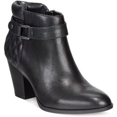 Alfani Wakefeld Booties, ($63) ❤ liked on Polyvore featuring shoes, boots, ankle booties, black, real leather boots, black leather booties, leather ankle booties, black boots and short leather boots