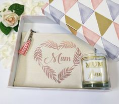 Check out this item in my Etsy shop https://www.etsy.com/uk/listing/615845444/mum-gift-set-personalised-name-on-candle