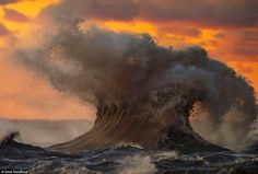 Photographer Dave Sandford captured the volatile nature of the large body of water after it was whipped into a 30-foot-high frenzy by passing autumnal storms