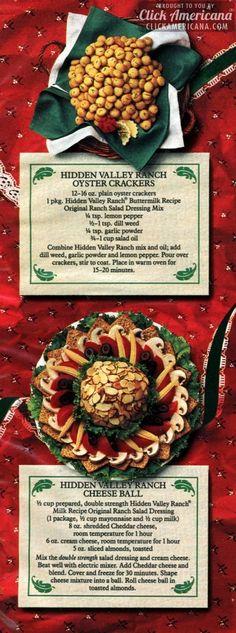 Oyster Crackers/Hidden Valley Ranch Cheese Ball Recipes (1987)