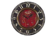Wooden Wall Clock - Red Center
