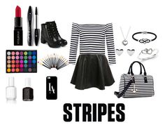 """""""# stripes"""" by laltdavis ❤ liked on Polyvore featuring Pilot, EASTON, Pandora, Jewel Exclusive, Kevin Jewelers, Dasein, Lancôme, Essie, Smashbox and Casetify"""