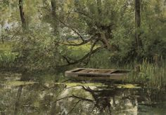catonhottinroof:  Emile Claus (1849 - 1924)  Boat on a river, 1885