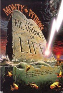 Monty Python's The Meaning of Life (1983)  Directed by Terry Jones.  Starring Graham Chapman, John Cleese, Terry Gilliam, Terry Jones, Eric Idle, and Michael Palin.   Grim Reaper: You are all dead. I am Death.  Hostess:  Well, that's cast rather a gloom over the evening, hasn't it?