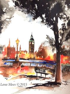 New London Watercolor Original Painting  London Sunset by LanasArt