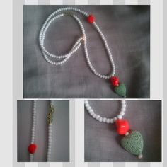 Lond Charm Necklace with White Mat Beads, a Lava Heart, a Coral and gold plated & transparent pistachio details by Be Serendipity!