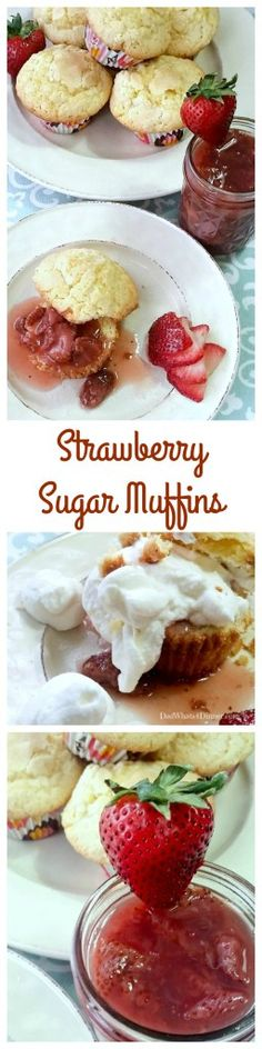 Strawberry Sugar Muffins is the ultimate breakfast or dessert. The sauce is made with fresh strawberries and served over sweet sugar cookie muffin. Muffin Pan Recipes, Bread Recipes, Crockpot Recipes, Cake Recipes, Dessert Recipes, Desserts, Deserts With Strawberries, New Dessert Recipe, Strawberry Topping