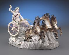 The Greek god Phoebus Apollo rides his Chariot of the Sun across the sky in this phenomenal Continental porcelain group piece. Modeled after the Meissen group designed by Johann Joachim Kaendler in 1772-1773, this figure depicts Apollo, god of light and music, seated in a chariot and commanding a team of glorious horses.
