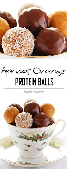 Apricot Orange Protein Balls - small bites packed with power to quickly restore your energy or satisfy your sweet tooth; raw; ready in 5 minutes - diettaste.com