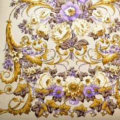 Beige Floral Shawl with Silk Fridge