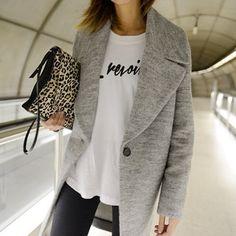 grey wool coat via WWW.THEPETTICOAT.NET •