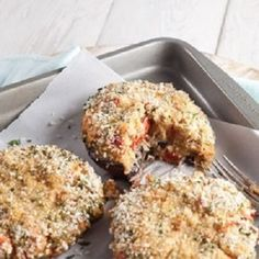 Seafood Stuffed Mushrooms Recipe. Packed with flavor and seafood, these stuffed mushrooms make great appetizers!